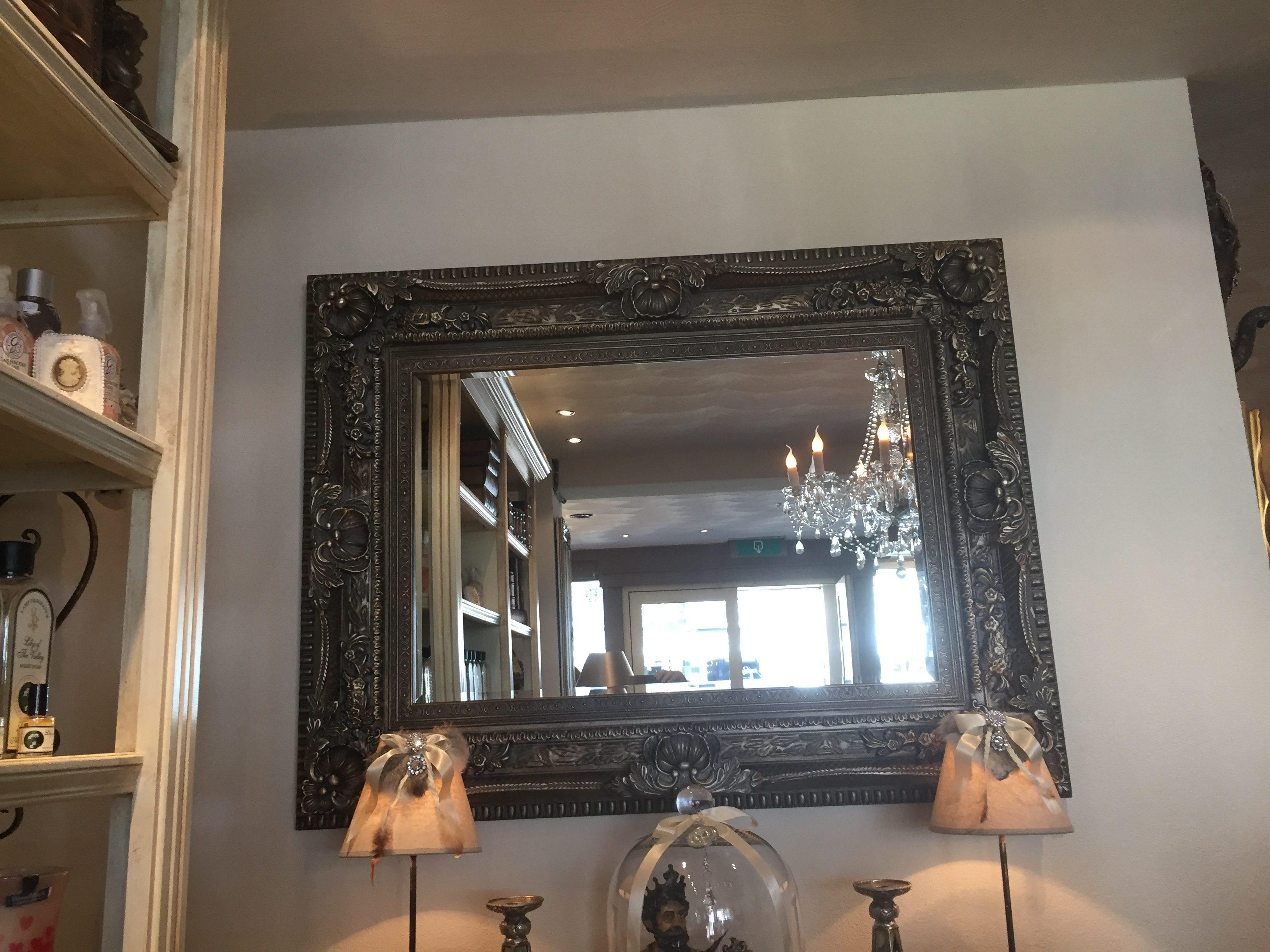 Witte Barok Spiegel : Grote antieke brocante barok spiegel wit goud l b a vendre