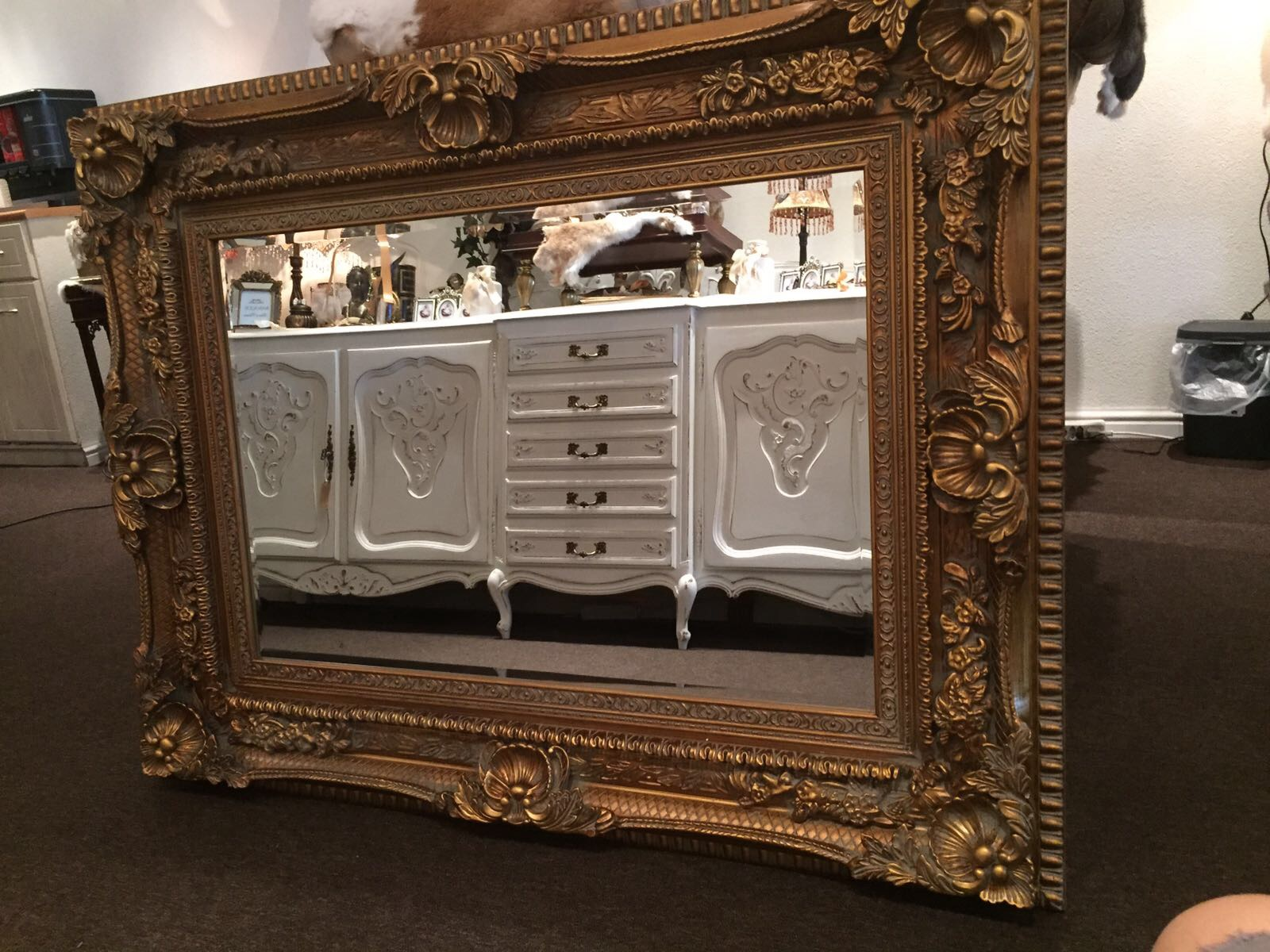 Gouden Barok Spiegel : Gouden barok uitgewerkte spiegel goud angelas kroonjuweeltje