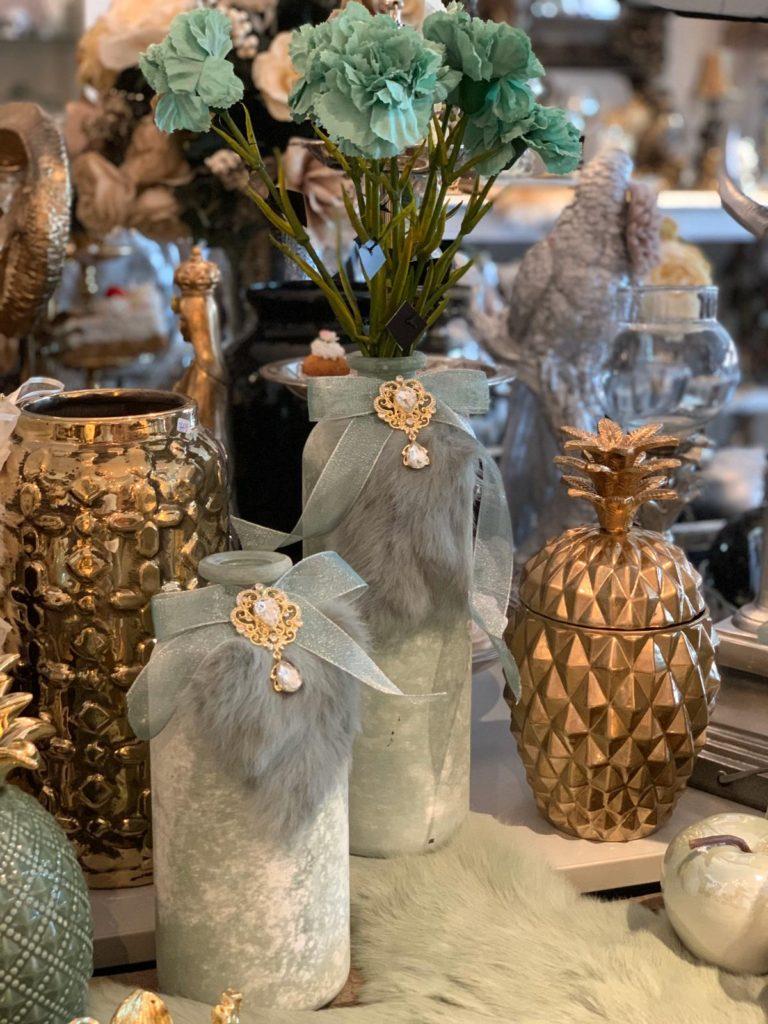 Set Kruik Vaas Decoratie Aqua Groen Tinten Goud Handmade Angelas Kroonjuweeltje
