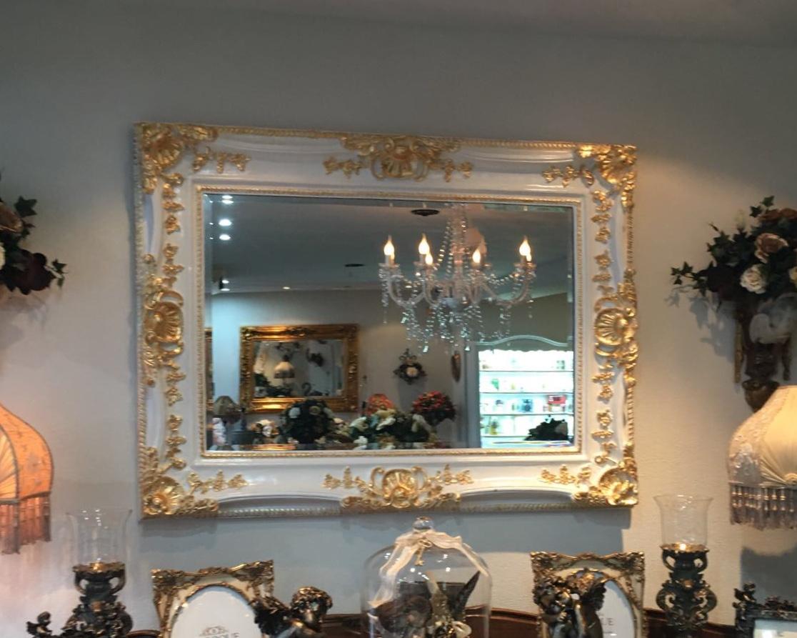 Witte Barok Spiegel : Barok spiegel wit crème met goud angelas kroonjuweeltje